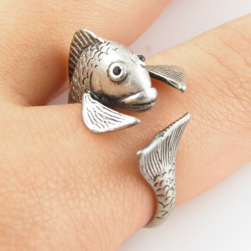 Fish Animal Wrap Ring - Silver - Pisces the Fish