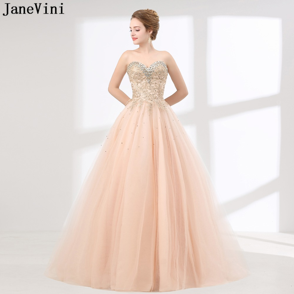 JaneVini Charming Tulle Long   Bridesmaid     Dresses   Sweetheart Lace Appliques Crystals Backless Ball Gown Arabic Formal Prom Gowns