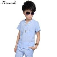 Xemonale Children S Clothing Boys Suit 2018 Summer New Boys V Neck Short Sleeve 5 Pants