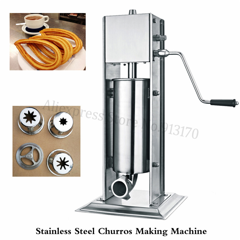 7L Manual Spanish Churros Making Machine Vertical Sausage Stuffer Stainless Steel Sausage Maker Meat Filling Machine