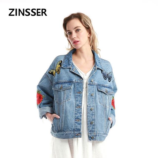 נשים ג 'ינס מעיל מפואר Oversize Loose מקרית רקמה ארוך שרוול 100% כותנה שטף כחול נשי גברת מעיל