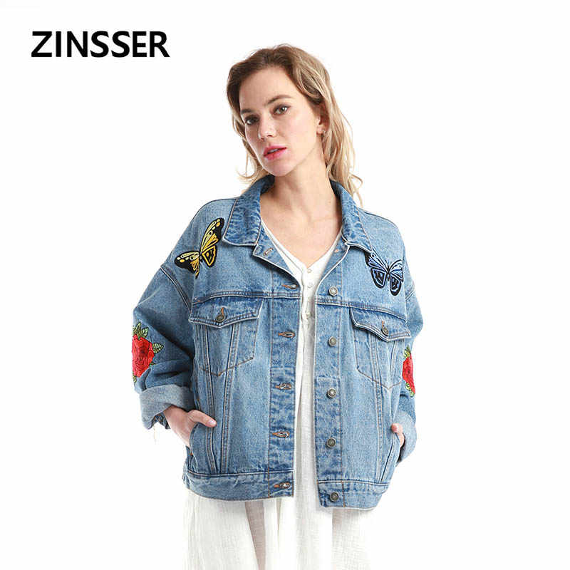 Women Denim Fancy Jacket Oversize Loose Casual Embroidery Long Sleeve 100% Cotton Washed Blue Female Lady Coat