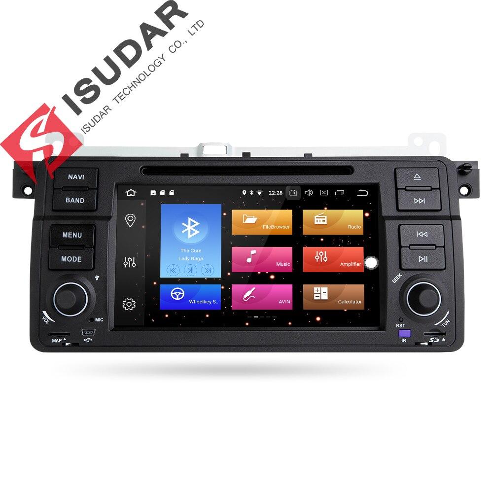 Isudar lecteur multimédia De Voiture GPS Android 8.0 autoradio 1 Din Pour BMW/E46/3 Série Canbus Bluetooth Radio Arrière vue Caméra DSP
