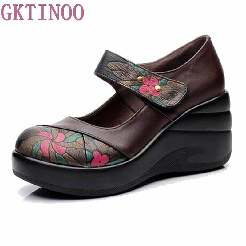 цены 2018 new fashion high heels women pumps,women ethnic style genuine leather wedge shoes woman single casual shoes women shoes