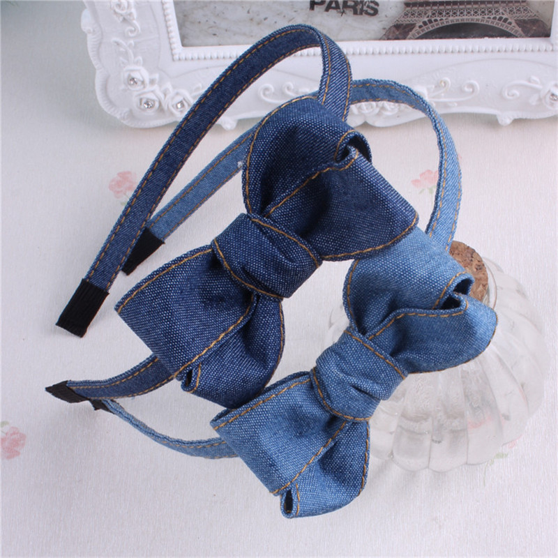 1 PC Women Girl Headband Denim Hairband Bow Headwear Kids High Quality Fashion Hair Bands Blue Hair Accessories 1 pc women fashion elastic stretch plain rabbit bow style hair band headband turban hairband hair accessories