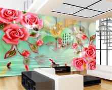 Custom high fresco wall paper house and wealthy reliefs rose fashion background murals 3d wallpapers papel de parede tapety