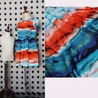 2016 nouvelle couleur irrégulière bande imprimé Bohème mince et opaque neige tourne tissu chemise robe tissus