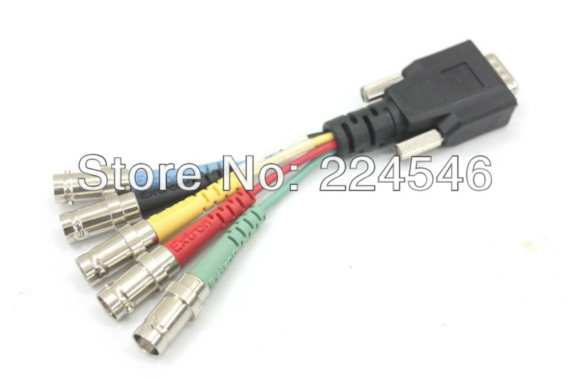 USED SYM BNCM/<font><b>0.5</b></font> 26-533-01 For Extron <font><b>VGA</b></font> Male to BNC Female Breakout Cable 5 Foot image