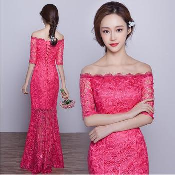 Chinese Bride modern lace cheongsam long design slit neckline married red fish tail evening dress spring summer Modern Stage