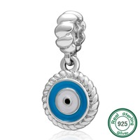 New DIY Dangle Heart Charms 925 Sterling Silver Blue Watchful Eye Charm Pendant Fit For Pandora