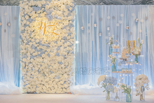 10ft x 20ft Light Blue ice Silk with Chiffon 2 layers Wedding Backdrop Stage Curtain Wedding Decoration