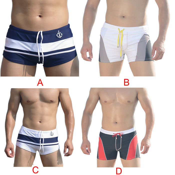 Swim New Men Sexy Beach Pants Shorts 4 Stripe Color Matching Boxer Swimming Trunks Swimwear Bathing Underpants Siuts