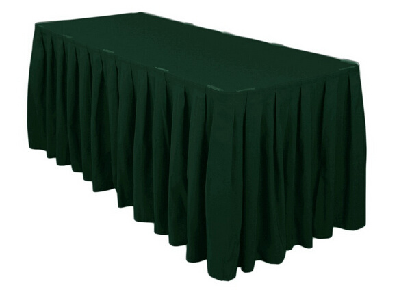 HK DHL Event Party Wedding 14 ft./420cm Accordion Pleat Polyester Rectangular Table Skirt Hunter Green, 5/Pack