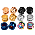 2PCS Steel Screw Ear Plugs and Tunnel Flesh Earring Gauges Hollow Piercings Ear Tunnels Expanders Rings Color Mixed Body Jewelry