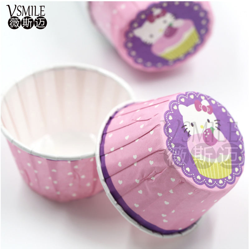 100 Pcs Pink Latar Belakang Putih Dot Hello Kitty Tema Cupcake Kasus