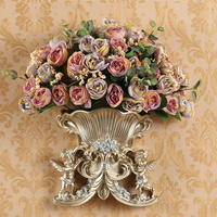 1 Set Artificial Flowers Rose European Two Angels Wall Hanging Resin Vase Multi Style Wedding Home Shop Decoration Fake Flower