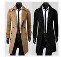 Envío libre casaco masculino 2016 mens Doble botonadura chaquetas de invierno tamaño delgado más larga trinchera capa de los hombres rompevientos jaqueta