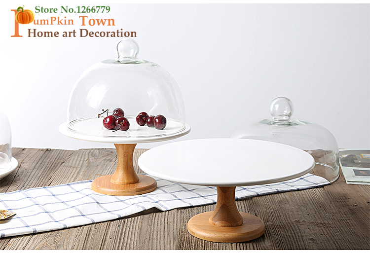 2018 Criativo estilo minimalista high grade de cerâmica com tampa de vidro prato de bolo, prato de sobremesa, prato de massa, placa de base de madeira sólida - 6