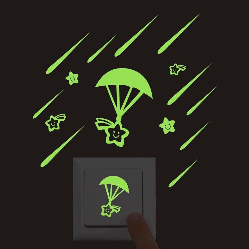 Новый 3D световой мультфильм переключатель Стикеры светятся в темноте флуоресцентный Star метеорный поток стены Стикеры для детской комнаты ...