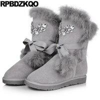 לשרוך את להחליק על נשים מגפי חורף 2017 נעלי עגל אמצע שלג האפור זמש שטוח אמיתי פרווה קצר פרוותי קריסטל ריינסטון פום Poms