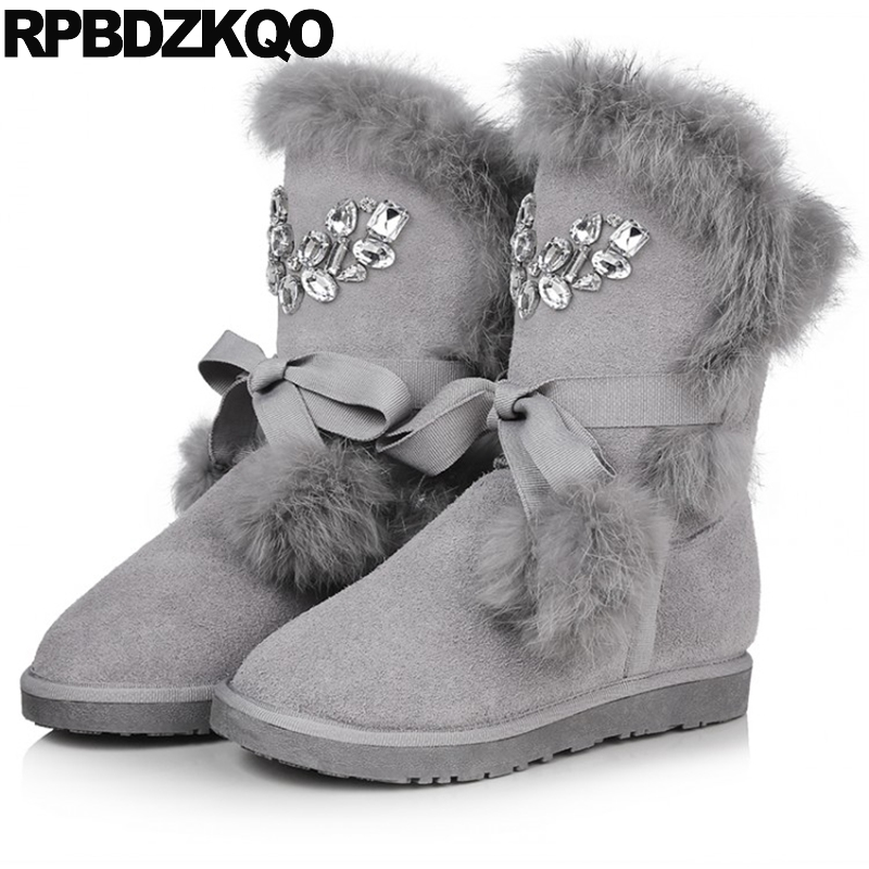 Lace Up Slip On Women Boots Winter 2017 Mid Calf Shoes Snow Grey Suede Flat Real Fur Crystal Short Furry Rhinestone Pom Poms stylish faux fur and lace up design women s mid calf boots