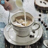 Japanse Retro Keramische Koffie Kopjes en Schoteltjes Set Thuis Kopjes Koffie Mokken Drinkwae creatieve Vintage