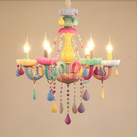 Colorful Chandelier modern LED Lights Kid Room Macaron ceiling Hanglamp Fixture Bedroom Children Luminaire Glass Lustre lighting