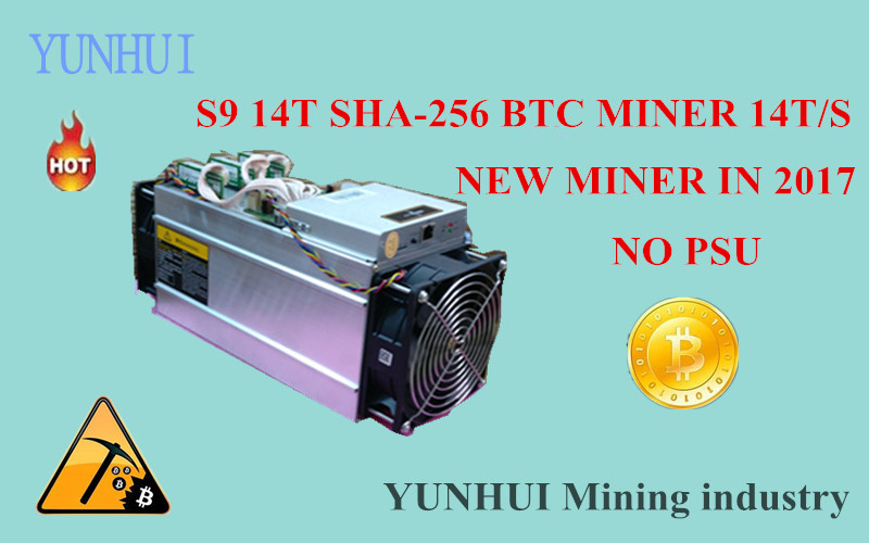 YUNHUI Mining machine supplier sell AntMiner S9 14T Bitmain 14Th/s (no psu) Asic Miner BTC Miner BTC Mining Power 1400W on wall