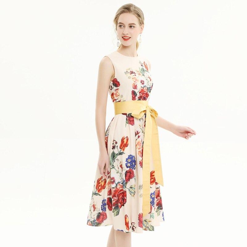 トップファッションデザイナー夏のランウェイドレスの女性 2019 ファッションノースリーブレースアップ花プリントミッドカー休日カジュアルタンクドレス  グループ上の レディース衣服 からの ドレス の中 3