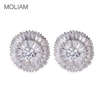 b10d6a94827e Pendientes de tachuela de marca de lujo para mujer Color plata brillante  AAA pendientes de Zirconia