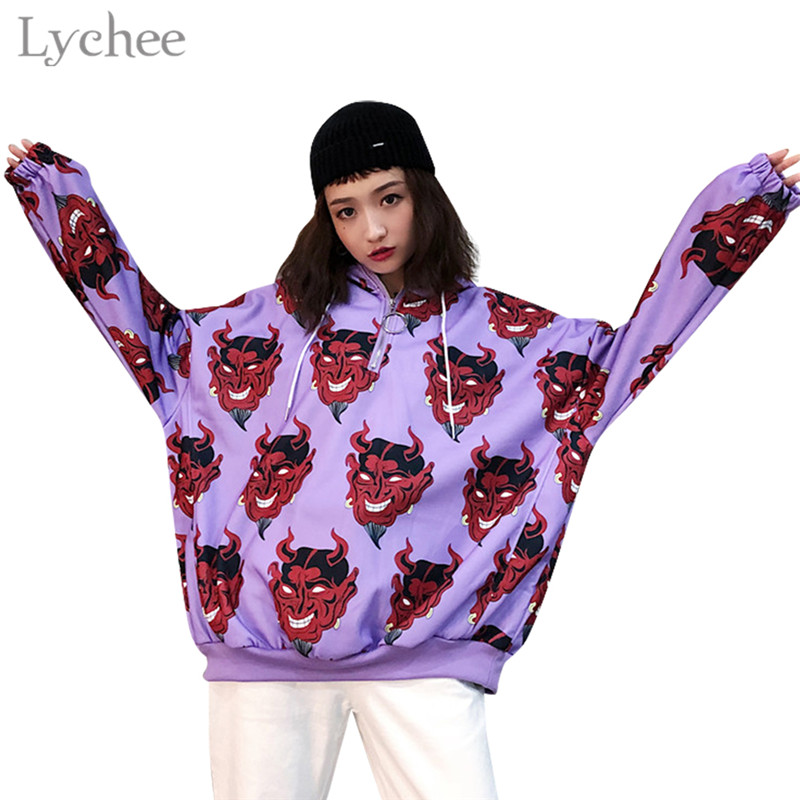 Lychee Harajuku Devil Print Hooded Women Sweatshirt Metal Ring Zipper Casual Loose Long Sleeve Female Pullovers Hoodies