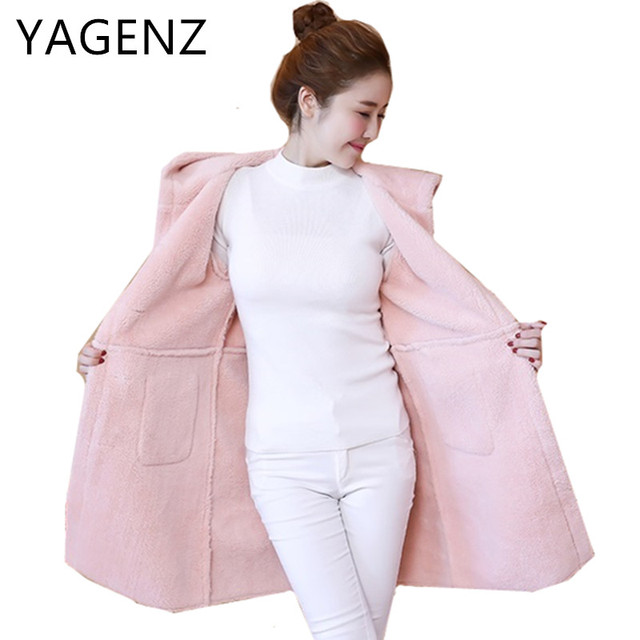 6a67b3ed785 2018 New Winter Suede Lamb Wool Coats Korean Slim Thick Casual Long  Overcoats Single-breasted Warm Hooded Female Jacket Student