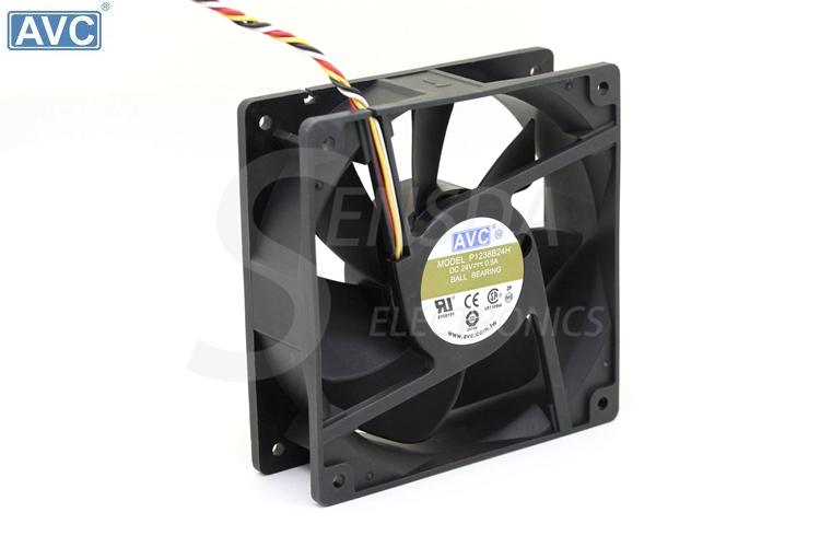 Wholesale AVC 12038 120mm 12cm P1238B24H DC 24V 0.5A 4Wire 4-pin Computer Case CPU Cooler Cooling Fans