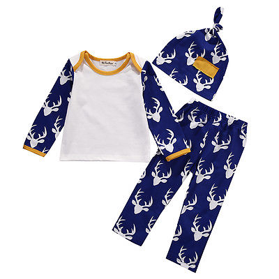 3pcs Christmas Set Newborn Baby Boy Girl Clothes Long Sleeve Deer Tshirt+Deer Pants Legging+Hat Baby Clothes Outfits Set 0-24 M