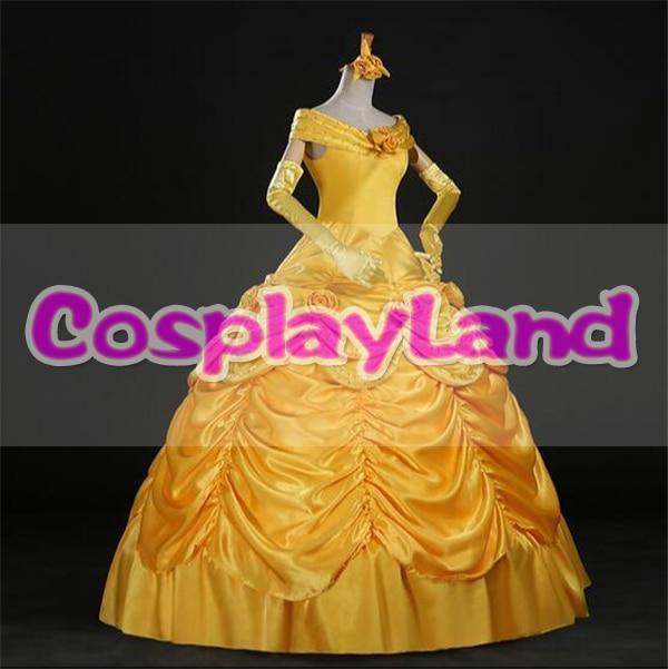 Skönhet och Beast Belle Dress Vuxenprinsessan Belle Cosplay Kostym - Maskeradkläder och utklädnad - Foto 2