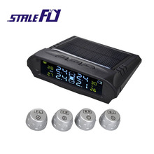 Photo voltaic Power TPMS Tyre Stress Monitoring Clever System with four Exterior Sensors Tire Stress Alarm F35