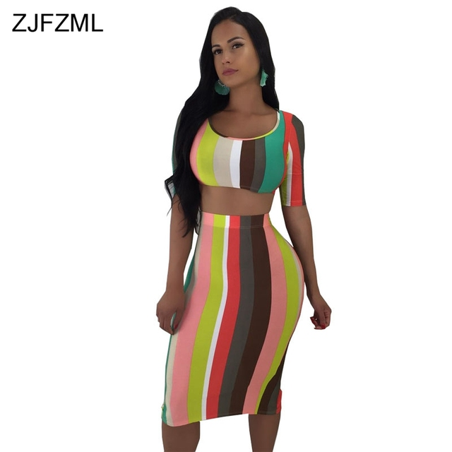 7a9986ad9d6d ZJFZML Colorful Vertical Striped Summer Dress 2018 Women Round Neck Short  Sleeve Package Hip Dress Sexy Back Split Party Dresses