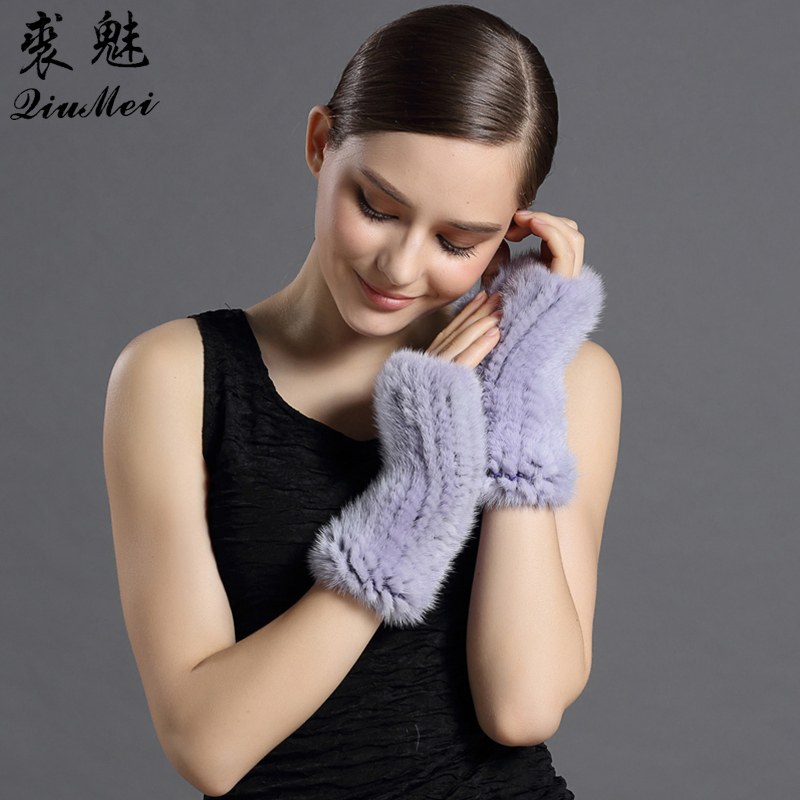 QiuMei Real Fur Gloves 2017 New Women 20CM Fashion Genuine Glove Luxury Brand Mittens Solid For Russian Winter Mink Fur gloves