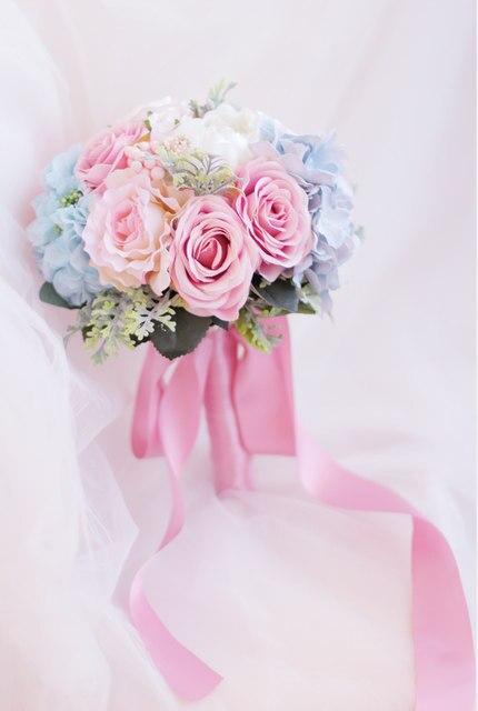 Online shop custom bride holding flowers pink blue bouquet wedding custom bride holding flowers pink blue bouquet wedding bouquet silk wedding bouquet bridal artificial rose bouquet mightylinksfo