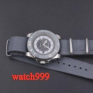 Image 3 - 40mm bliger grijze wijzerplaat keramische bezel datum saffierglas Lichtgevende Effen case Nylon strap mechanische automatische mannen horloge