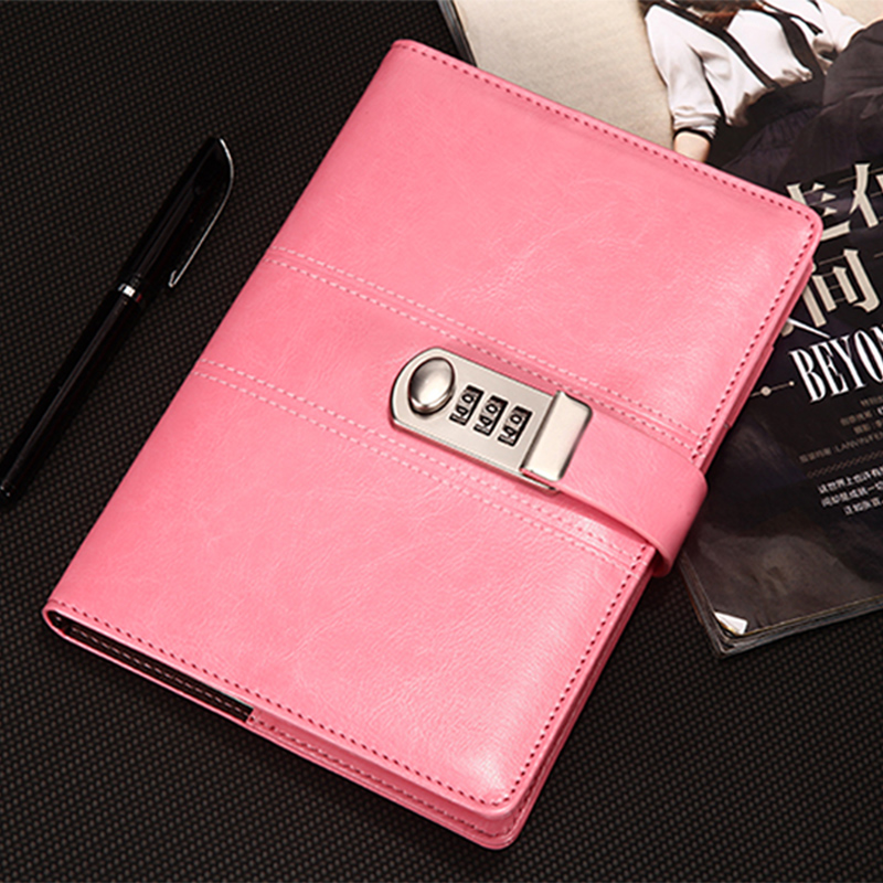 New Leather Diary Notebook with Lock code password notepad paper 100 sheets backpack Note book A5 Office school supplies Gift a6 diary pink notebook simple fabric 128 sheets coffee gray notepad line paper diary book school office supplies