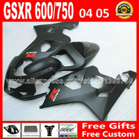 Free for flat black 2004 2005 SUZUKI moto GSXR 600 750 custom fairing kit K4 gsxr600 ARC gsxr750 fairings kits 04 05 285