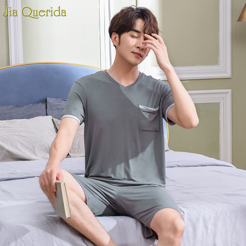 Japanese Pajamas Mens Solid Grey Plain Style 2019 New Fashion Mens Home Clothing Summer Shorts Pijama Cotton Home Wear Men Suit