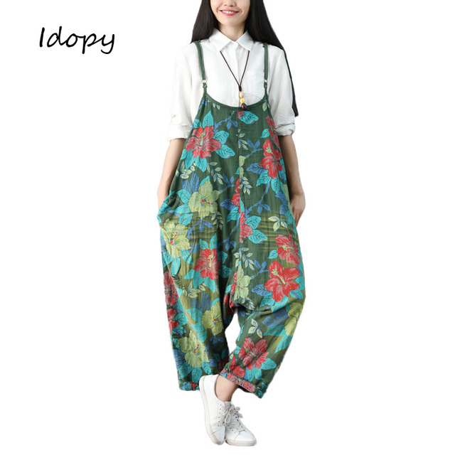 3a36d896a3a8 Idopy Fashion Women`s Floral Jumpsuit Female Loose Fit Baggy Urban Style  Flower Printed Bib Overalls For Girls