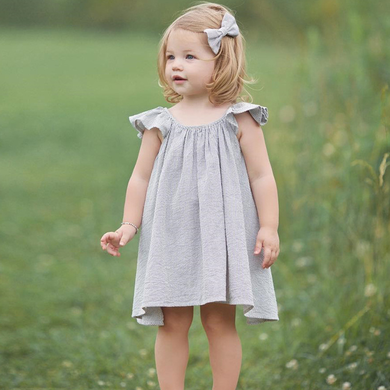 2018 Cute Leisure Cotton Baby Dress For Kids Girls Striped Princess Dress Summer Flower Sleeves Crew Neck 1-4Year Girls Clothes