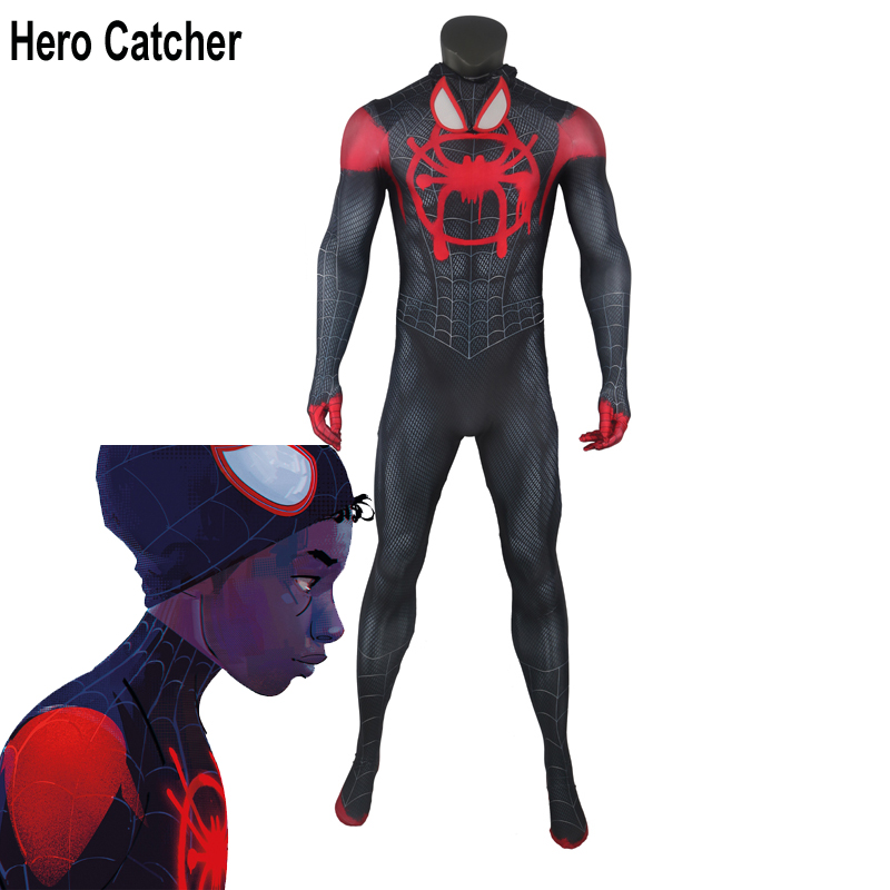 Hero Catcher Spider Man Into the Spider Verse Cosplay Costume Newest Full body Spider Man Suit For Halloween-in Movie & TV costumes from Novelty & Special Use    1