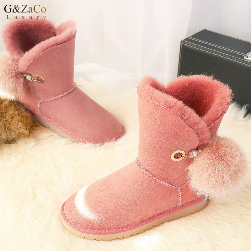 G&Zaco Winter New Genuine Leather Sheepskin Boots Wool Fur Snow Boots Middle High Fox Fur Ball Warm Cotton Sweet Women's Shoes