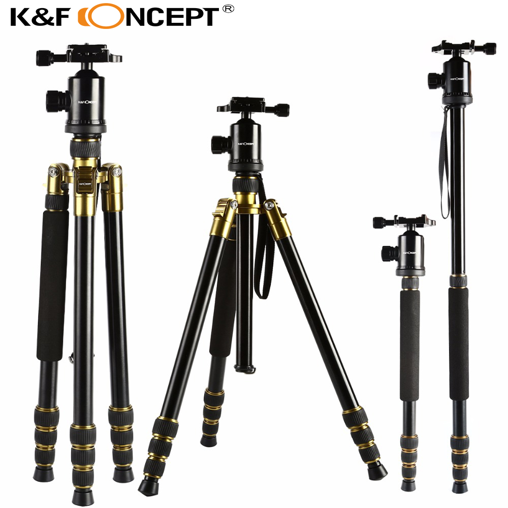 K&F CONCEPT Aluminum Magnesium Professional Tripod Monopod+ Ball Head compact for DSLR Camera Portable/Digital SLR Camera Stand цены онлайн