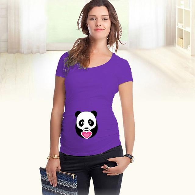c1839b560 Camisetas de maternidad divertidas ropa de embarazo tops de maternidad de  algodón panda estampado verano nuevas