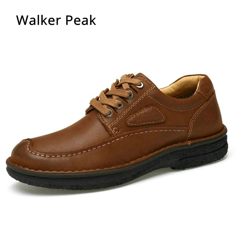 Brand Men Casual Shoes Genuine Leather Men Shoes Lace-up Breathable Soft Autumn Casual Flats Formal Shoes Size 45 Walker Peak men s leather shoes vintage style casual shoes comfortable lace up flat shoes men footwears size 39 44 pa005m